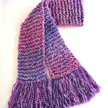 Purple Pink Scarf Chunky Long Knitted Winter Scarf Women Teen Girl