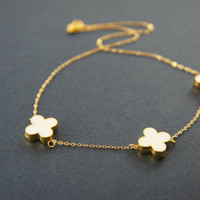 3 white clover necklace, love, friendship, holiday, anniversary gift, lucky charm