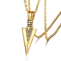 Punk Cool 316L Stainless Steel Arrow Pendants Necklaces for Men Jewerly Gold Silver Black Color