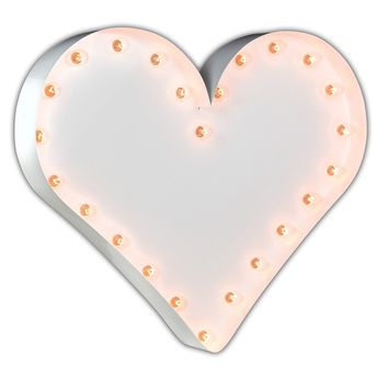 "24"" Heart Vintage Marquee Lights Sign (White Gloss)"