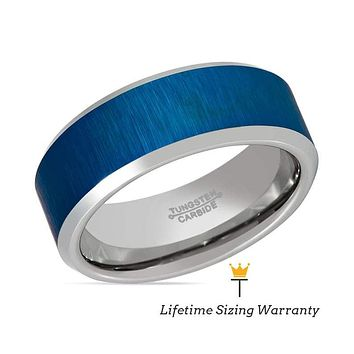 Blue Tungsten Ring with Reflective Finish Beveled Edges for Men and Women - 8MM
