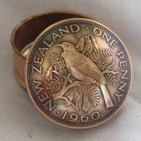New Zealand Old Penny Coin Snuff Box / Pill Pot / Stash Box / Keepsake Handcrafted In Trench Art Style