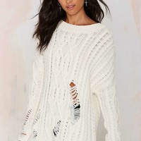 Joa Holed Up Distressed Cable Sweater