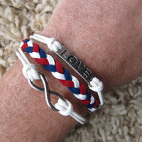 Red, White & Blue Team Color  Karma Love and Infinity Charm Friendship Bracelet - Made in the USA