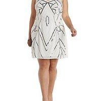 PLUS SIZE SEQUINED & BEADED SHIFT DRESS