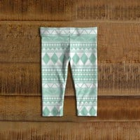 Tribal Baby Leggings, Toddler Leggings, Mint, Green Girl
