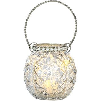 BLOWOUT Hanging Mercury Glass Candle Holder with Rhinestones (2.5-Inch, Aria Design, Silver) - For Use with Tea Lights - Home Decor and Wedding Decorations