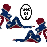 Mudflap Girls Rebel Confederate Flag Vinyl Die Cut Decal Sticker set of 2