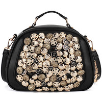 ROMWE | Black Contrasting Button Bag, The Latest Street Fashion