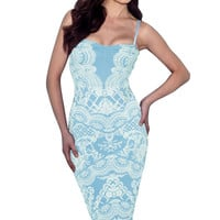 Baby Blue Lace Applique Bodycon Mid Dress with Strap