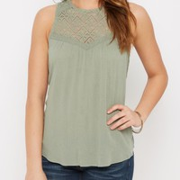 Green Lace High Neck Swing Tank | Going Out Tank Tops | rue21