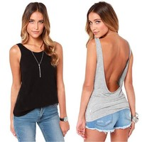Casual Lady Women's Solid Black Grey V Back Vest Tank Tops Backless Tops S-XL Y6