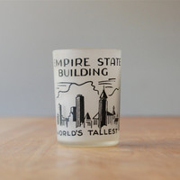 Vintage New York CIty Empire State Building Shot Glass - Frosted