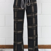 Soft Flannel Plaid Lounge Pants {Charcoal Mix}