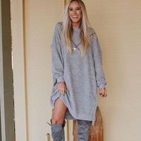 Harper Oversized Two Tone Sweater Dress - Heather Gray