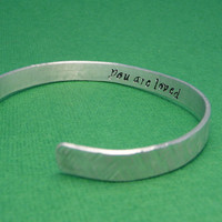 Hidden Message -- Double Sided Hand Stamped Aluminum Bracelet