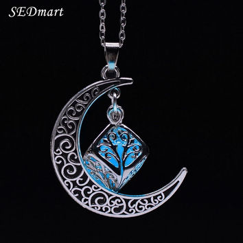 SEDmart Hollow Crescent Moon Magic Cube Fairy Locket Glow In The Dark Pendant Necklace Luminous Glowing Stone Statement Necklace