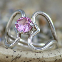 Size 5.75 - Pink Tourmaline Sweetheart Ring In Sterling - Silver Split-Shank Linked Hearts - Promise Ring - Gift For Her - Ready to Ship