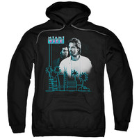 MIAMI VICE/LOOKING OUT-ADULT PULL-OVER HOODIE-BLACK-LG