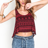 RED TRIBAL CROPPED TANK TOP