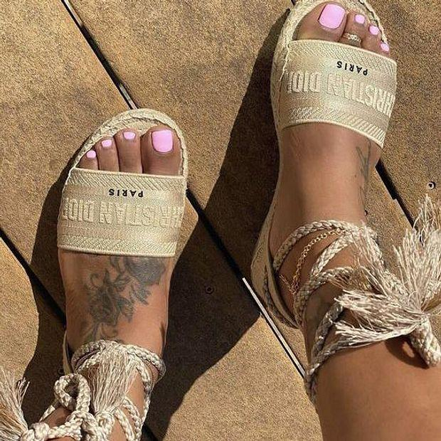 Image of DIOR Popular Women Retro Canvas Embroidery Sandals Shoes
