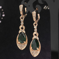 18k Gold Plated Gem Stone Dangle Pair Earrings Women Gift Jewelry Love