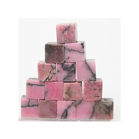 Pink Black Graphic Rhodonite mini cubes Polished Stones for arts crafts or jewelry making NOT drilled