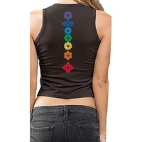 Ladies FLORAL CHAKRAS Cropped Tank - Back Print - Made in America