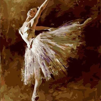 Frameless Pictures Painting By Numbers Hand Painted Canvas Drawing Diy Oil Painting Wall Art 40*50cm Ballet Queen G408