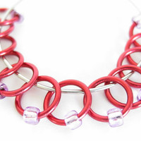Small Stitch Markers for knitting | Ring stitch markers | Beaded stitchmarker | Knitting accessories | red rings; purple beads | #0333