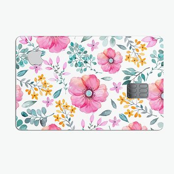 Subtle Watercolor Pink Floral - Premium Protective Decal Skin-Kit for the Apple Credit Card