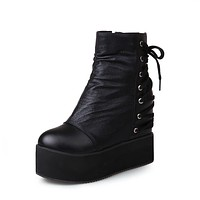 Wedges Boots Back Lace Up Women Shoes Fall|Winter 6440