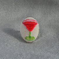 Ring cocktail Cross stitch ring Embroidered jewelry Red handmade ring Cocktail jewelry Oval ring Gift for her Party jewelry