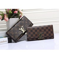 """Louis Vuitton"" Women Classic Logo Letter Lock Long Section Purse Button Flip Wallet"