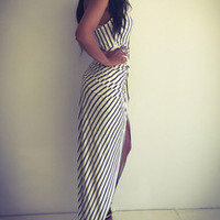 Black White Vertical Striped Knotted Asymmetric Dress
