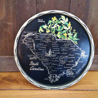 Vintage Round Tin South Carolina Souvenir Tray