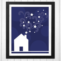 Stars wizard house magical chimney puffs blue and white geomtric print  INSTANT DOWNLOAD holiday Christmas spirit