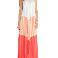 Multicolor Sleeveless Patchwork Pleated Maxi Dress