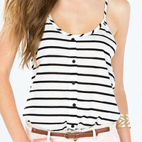 Black and White Striped Buttons Cami