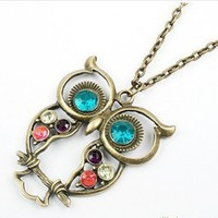 Lovely Lady Vintage Long Chain Necklace Owl Rhinestone Jewelry