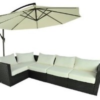 Outsunny 5-Piece Stylish Outdoor PE Rattan Wicker Patio Sofa Furniture Set