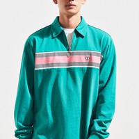 Lazy Oaf Green With Jealousy Zip Rugby Shirt   Urban Outfitters