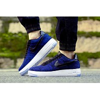 Originals Nike Air Force One 1 Flyknit Low Blue / Black / White Running Sport Casual Shoes '07 817419-400 Sneakers