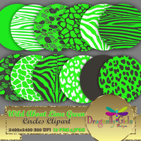 """80% OFF Sale WILD About Lime Green 8"""" Clip Art, commercial use, digital scrapbook papers, vector graphics, printable, Instant Download"""