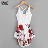 Dotfashion Crochet Lace Panel Bow Tie Back Florals Romper Womens V neck Criss Cross Sleeveless Playsuit 2018 Sexy Summer Romper