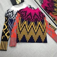 2018 Autumn Winter Striped Knitting Sweaters Pullovers Women Runway Designer Patchwork Long Sleeve Ladies Jumper Clothes