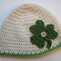 Wool Crochet Hat/Beanie with Shamrock Applique/Adult size is ready to ship by CROriginals
