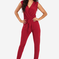 Red Overlapping Jumper with Pockets and Matching Belt