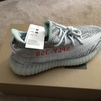 NEW DS Adidas Yeezy Boost 350 V2 Blue Tint Grey Red B37571 SPLY 100% AUTHENTIC