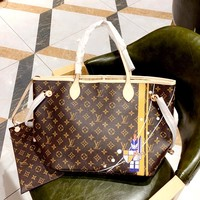 LV new classic old flower retro women's shopping bag mother bag two-piece